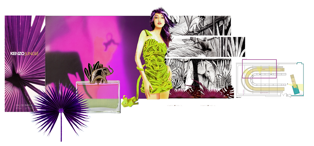 Jungle parfum décor publicité stylisme costume storyboard Les Orpimentes