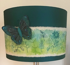 Drum lampshade with butterfly