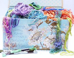 A coloured box of hand threads