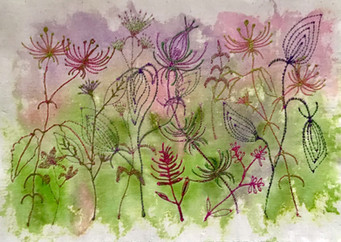 Pink and mauve fantasy flowers
