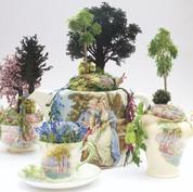 Tea-set of tea-pot, sugar bowl, jug and tea-cup