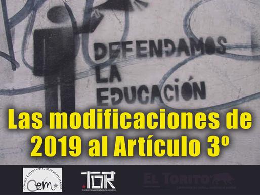 Las modificaciones de 2019 al Artículo 3º (No. Especial: Exclusión educativa)