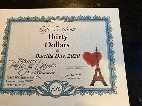 Patisserie Paris Je T'aime  - Gift Card $30 (10 cartes disponibles)