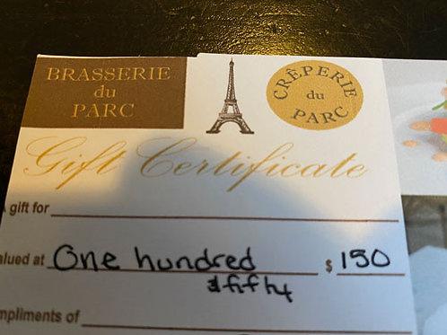 Brasserie du Parc  - Gift Card $150 (1 carte disponible)