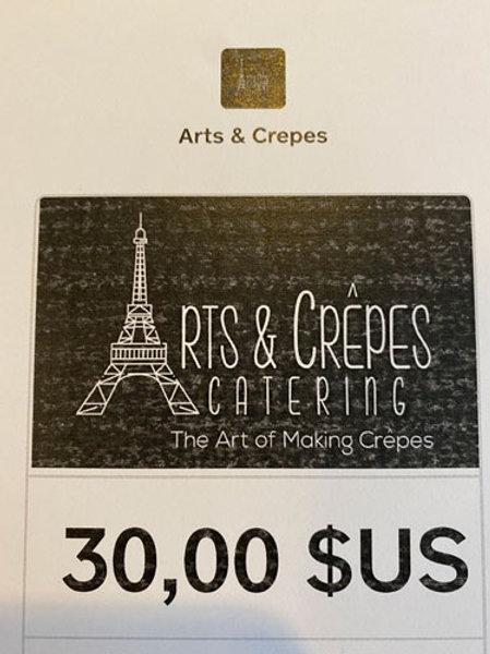 Arts and Crepes  - Gift Card $20 (10 cartes disponibles)