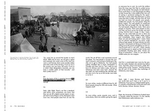 Repition of the text is used on the left side of the spread like on the cover.   I leave space under the photograph to give the viewer a visual break and some extra content that is not included in the transcript.