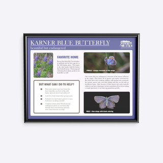 Trail sign about endangered butterfly