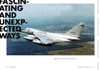 I was able to find an old photo of the airplane described in the podcast. I used this opportunity to feature a pullquote and make a beatifully designed spread.