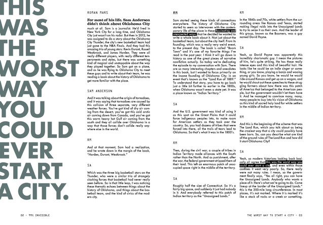 """If you click the mp3 link at the bottom of the Podcast transcript, you can follow along with the publication!  I used the """"undesign"""" of when you highlight text in indesign to highlight important quotes in the podcast."""