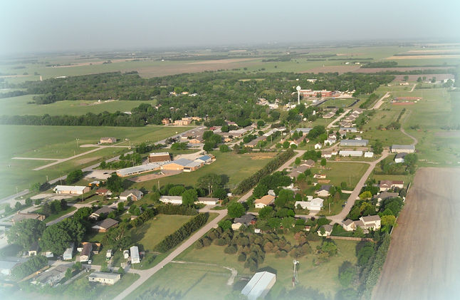 View of Goessel, KS from the air