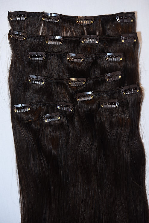 Clips-in Remy Hair Extensions #1B