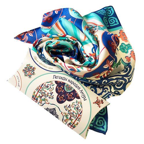"""Платок """"Легенды народов Амура"""" с ручной подшивкой 100% шёлк"""