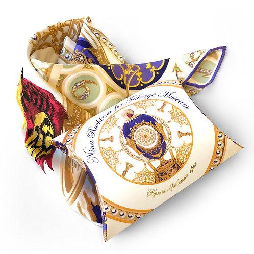 """Платок """"Пасхальное яйцо-часы Петушок"""" с ручной подшивкой"""