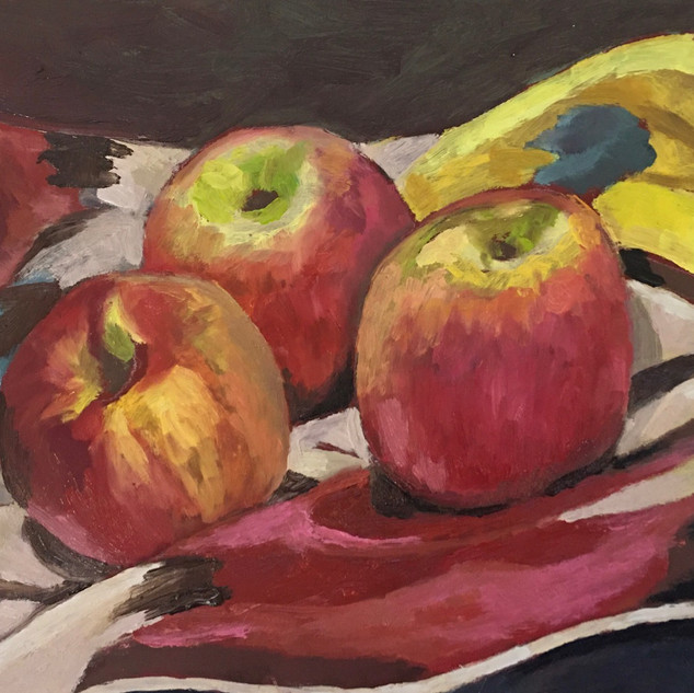 Robin howard three apples oil on board
