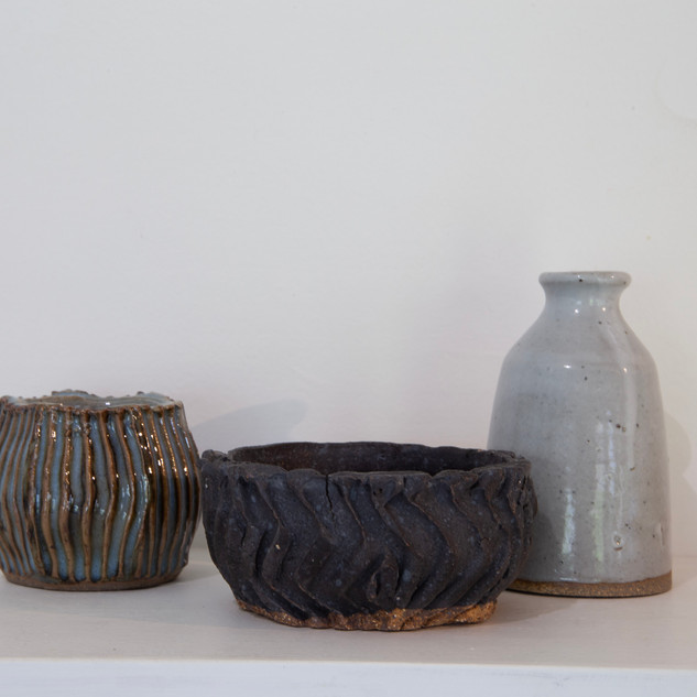 Al Howard, two textured bowls, sake bottle, eulsion glaze.