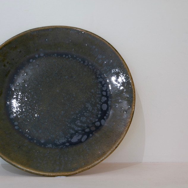 Kate McKay, plate, stoneware, green ash glaze.