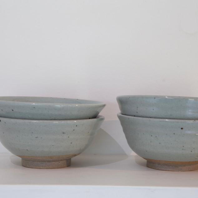 Kate McKay, four bowls, stoneware, celadon glaze
