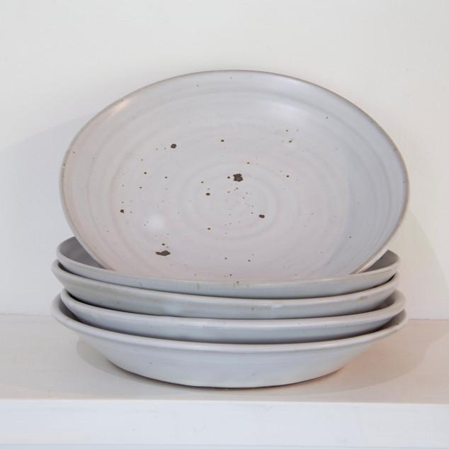 Kate McKay, five shallow dishes, stoneware, satin matt glaze.