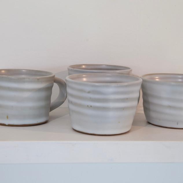 Kate McKay, four cups, stoneware, satin matt glaze