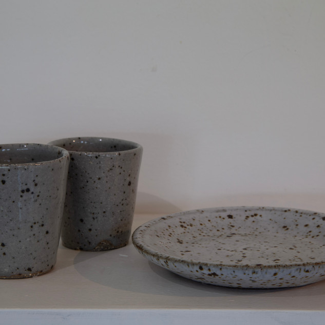 Al Howard, two beakers and small dish stoneware glazed
