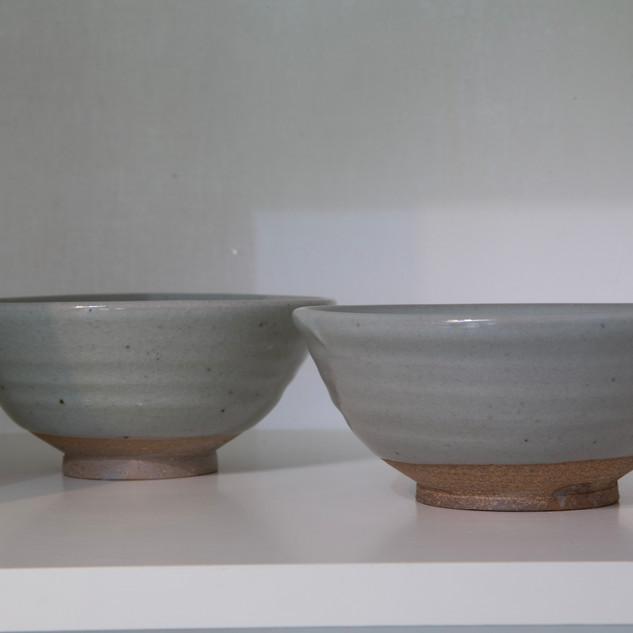 Kate McKay two stoneware bowls, celedon glaze
