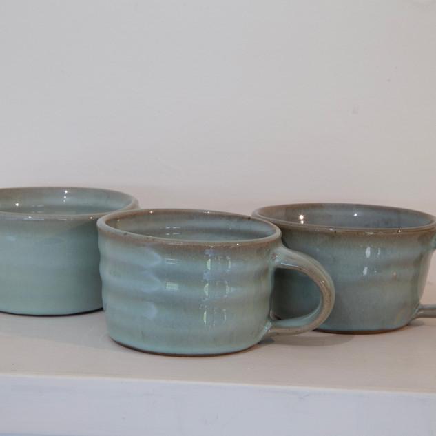 24.Kate McKay, three cups, stoneware, chun glaze