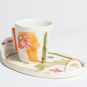 Garden cup and plate (oval)