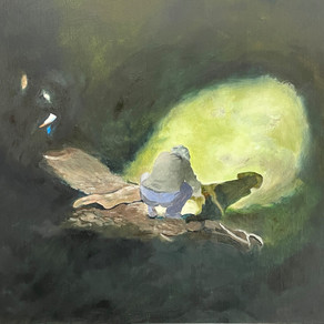 The Frog Count, oil on board