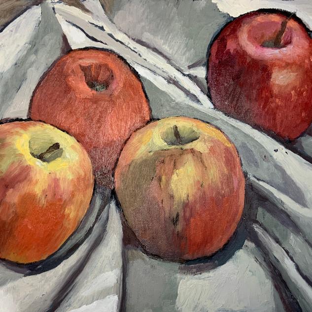 Robin Howard four apples, oil on board