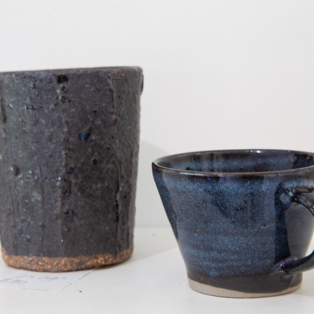 Al Howard vase and cup, glazes
