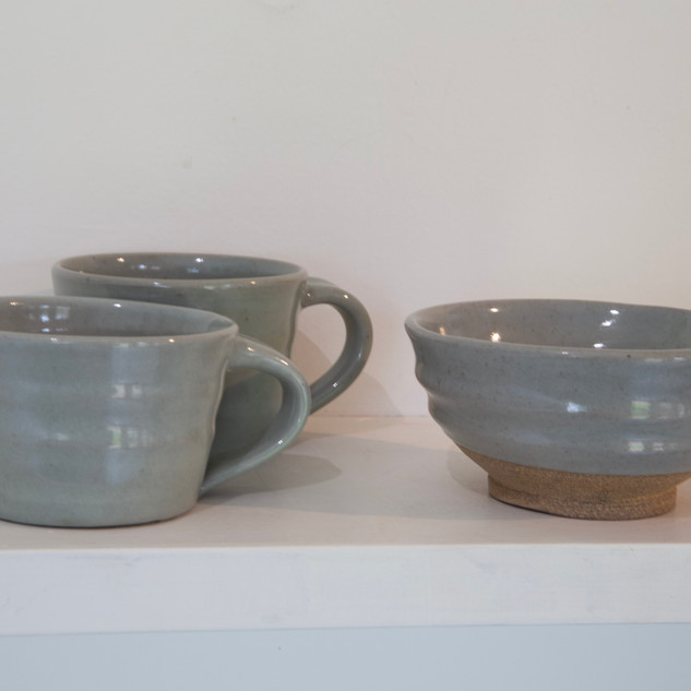 Kate McKay, two cups, one bowl, stoneware, celadon glaze