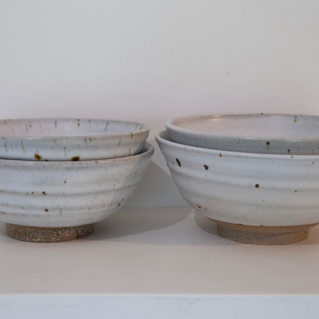 Kate McKay, four bowls, stoneware, satin matt glaze