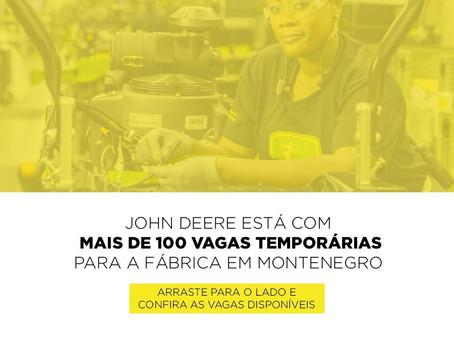 Fábrica da John Deere em Montenegro tem 180 vagas de trabalho