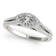 Ferdinand Jewelers marquise halo, pave set white gold band engagement ring
