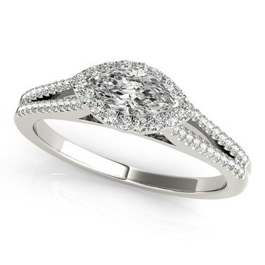 Ferdinand Jewelers marquise halo, pave set white gold band engagement ring