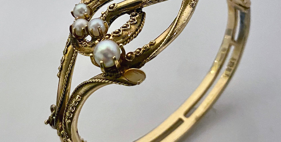 Antique Gold Pearl Hinged Bangle