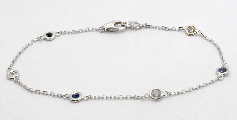 Sapphire and Diamond by the Inch Bracelet