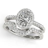 Ferdinand Jewelers oval diamond, halo mount, pave band wedding set