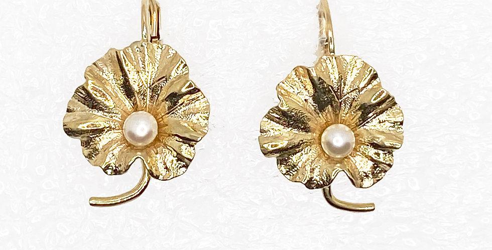 Lotus Leaf  Pearl Gold Vintage Earrings