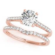 Ferdinand Jewelers round diamond, rose gold, pave band wedding set