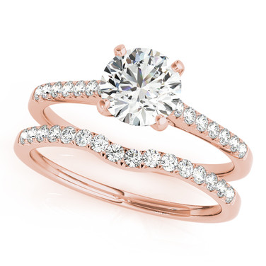 Ferdinand Jewelers round diamond, rose gold, pave band wedding set