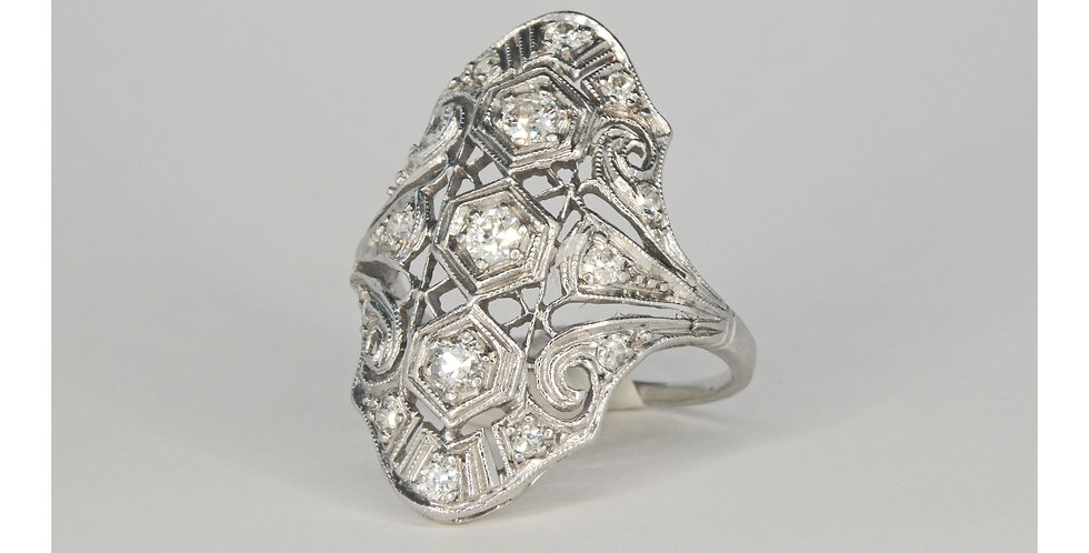 Antique diamond cluster ring, one of a kind, vintage pear-shaped, at Ferdinand Jewelers in New Jersey