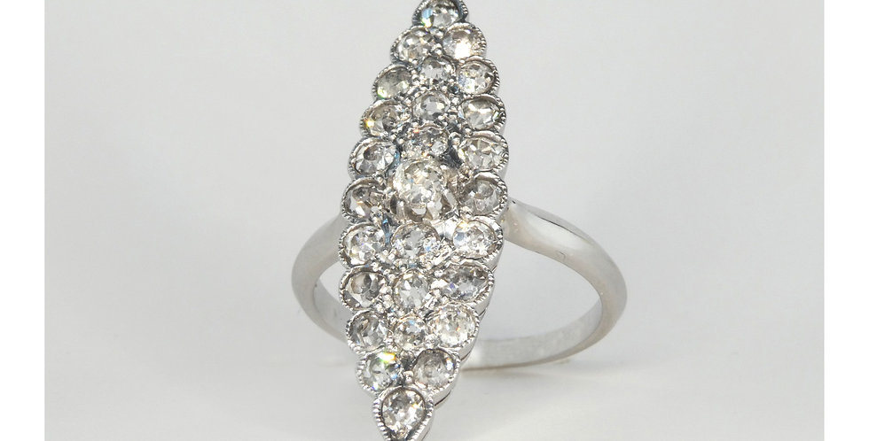 Vintage Antique diamond cluster ring offset view