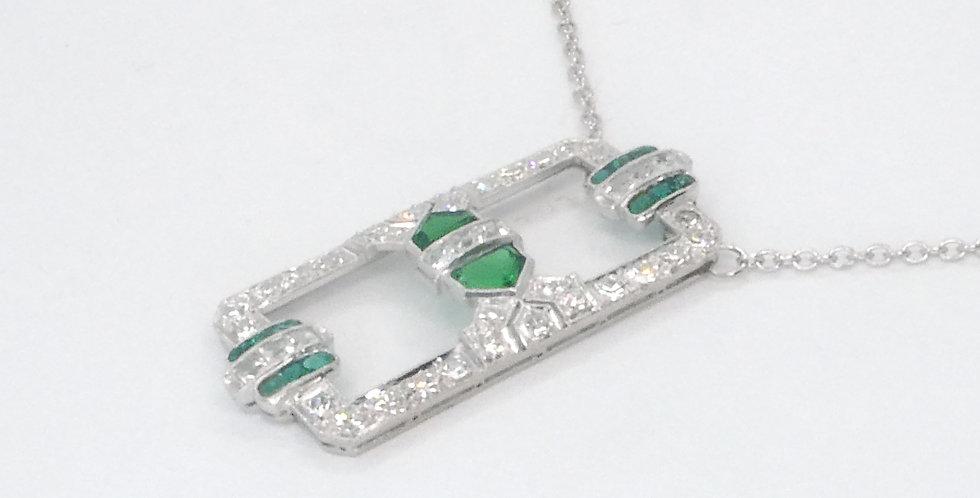 Emerald Diamond Platinum Pendant