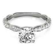 Ferdinand Jewelers white gold mount, princess diamond, slim diamond channel set engagement ring