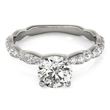 Ferdinand Jewelers white gold mount, princess diamond, slim diamond channel set engagement ring