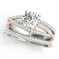 Cushion diamond, twisted pave band wedding set