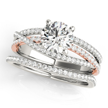 Cushion diamond, twisted pave band wedding set