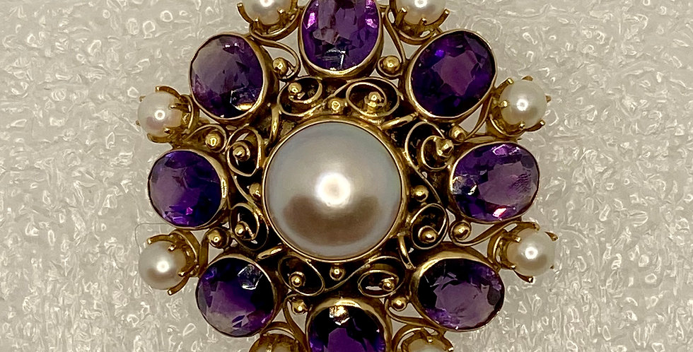 Amethyst and Pearl Vintage Pin