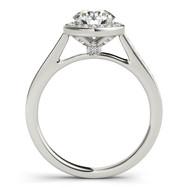 Ferdinand Jewelers round diamond, white gold mount, side view engagement ring